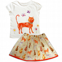 Girls Cat Outfit Skirt and T-shirt