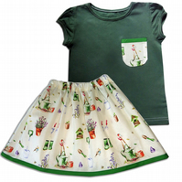 Girls Garden Outfit Skirt and T-shirt