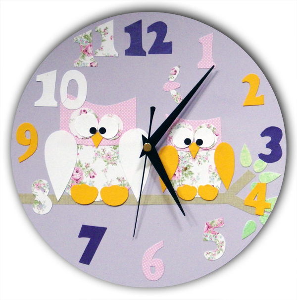 Purple Owl Clock