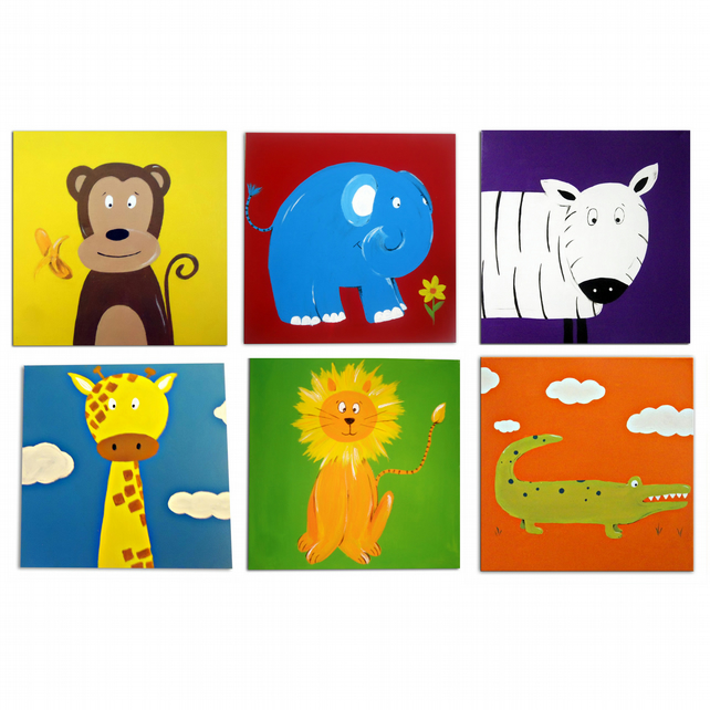 Jungle  Animals 6 Canvases - Monkey, Lion, Elephant, Zebra, Crocodile, Zebra