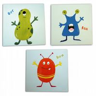 Monster 3 Canvases- Nursery Decor