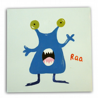 Children's Blue monster Art - Painting - Canvas - Nursery Decor