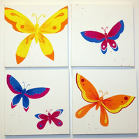 Butterfly Art - 4 Canvases