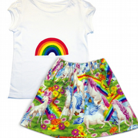 Girls Unicorn and Rainbow t-shirt and skirt