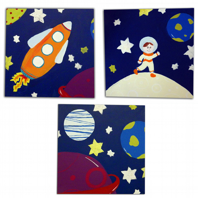Outer Space 3 Canvases- Nursery Decor