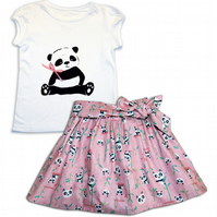 Girls Panda Outfit Skirt and T-shirt