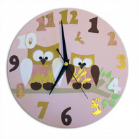 Owl Clock - Pink and Gold