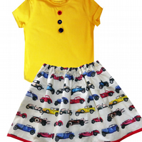 Girls Car Outfit Skirt and T-shirt