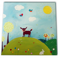Fox Woodland Painting -  Canvas