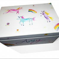 Personalised Unicorn and Rainbow Keepsake Box - Memory Box - Toy Box