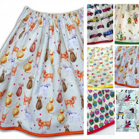 Women's Skirt - Cat, Fish, Cupcake, Garden, Car or Humpty Dumpty