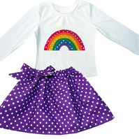 Girls Rainbow Outfit - T-shirt and Spotty Skirt
