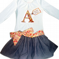Girls Personalised Outfit - T-shirt and Skirt