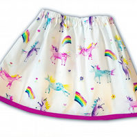 Girls Unicorn and Rainbow Skirt
