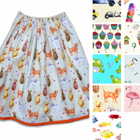 Women's Skirt - Cat, Fish, Cupcake, Garden, Car, Flamingo, Bird, Ice Cream, Frog