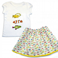 Girls Fish Skirt and T-shirt Outfit