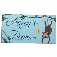 Cheeky Monkey Personalised Door Sign Plaque in Blue or Pink