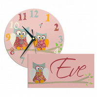 Pink Owl Clock and Door Sign Gift Set
