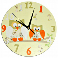 Yellow Owl Clock