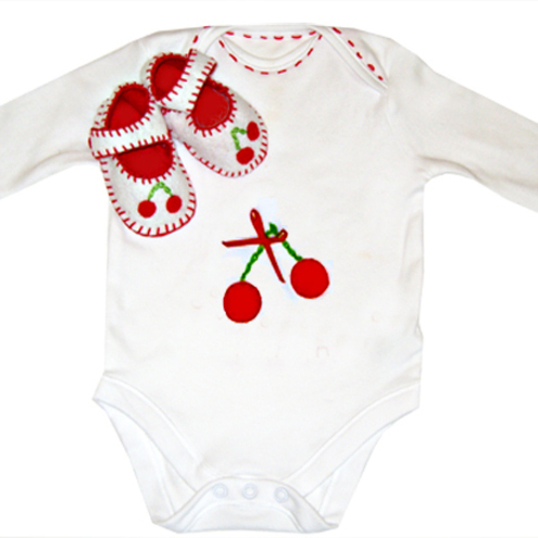 Cherry Baby Shoes and Babygro Gift Set