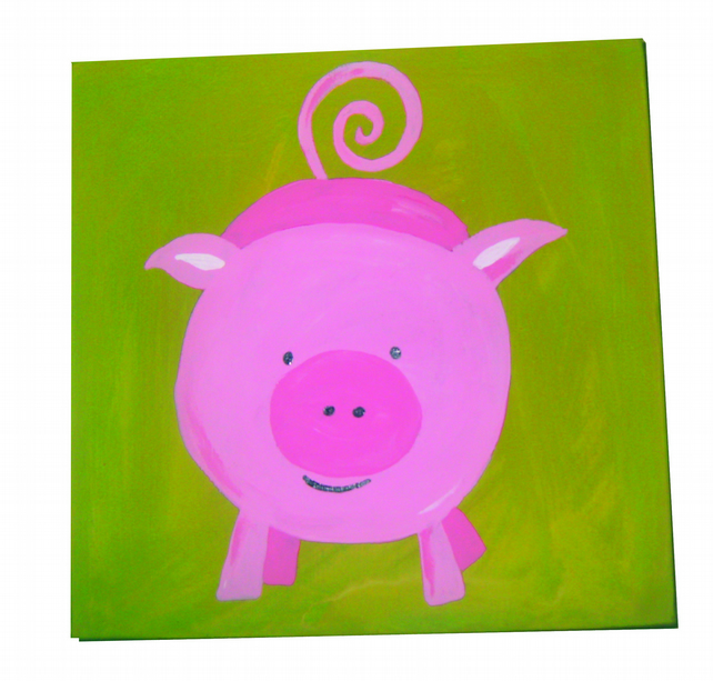 Fun with the Animals Pig Painting Canvas