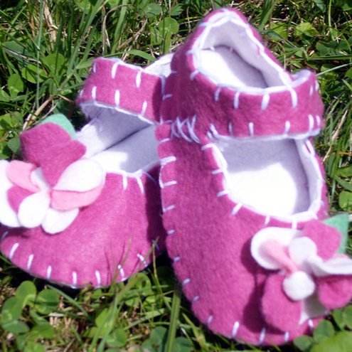Mauve Baby Flower Shoes