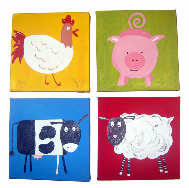 Fun with the Farm Animals 4 Canvases - Sheep, Pig, Cow and Hen