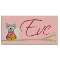 Pink Personalised Owl Door Sign  Plaque