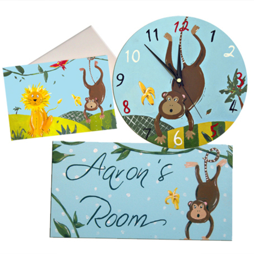 Cheeky Monkey Clock, Door Sign and Card Gift Set