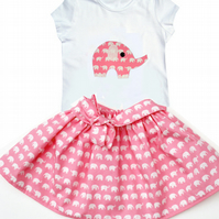 Pink Elephant Outfit Skirt and T-shirt