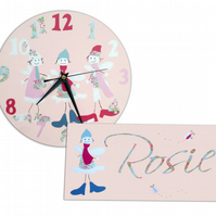 Fairies Clock and Door Sign Gift Set