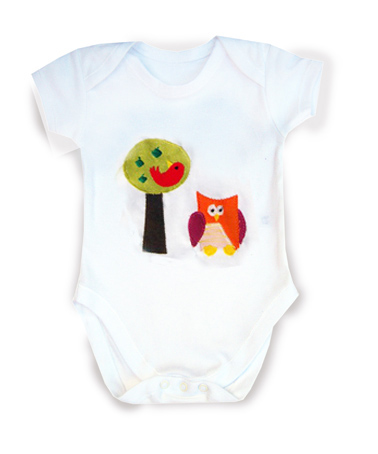 Owl and Apple Tree Babygro  Body suit