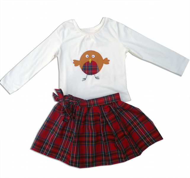 Tartan Robin Outfit Skirt and T-shirt