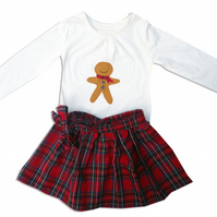 Gingerbread Man Christmas Outfit Skirt and T-shirt