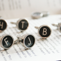 Personalized Cufflinks Sterling Silver Backs Authentic Typewriter Key Letters
