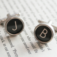 Typewriter Cuff links Customized black cufflinks Personalized mens accessories