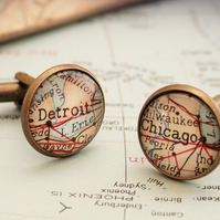 Custom Map cufflinks for men, groomsmen gift