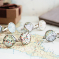 Custom map Cuff links 3 SETS in Silver finish Groomsmen gifts