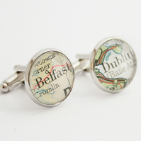 Custom Map cuff links for men, groomsmen gift