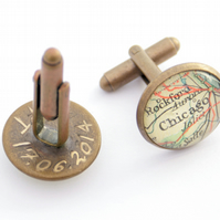 Engraved Custom Map Cufflinks Made to Order