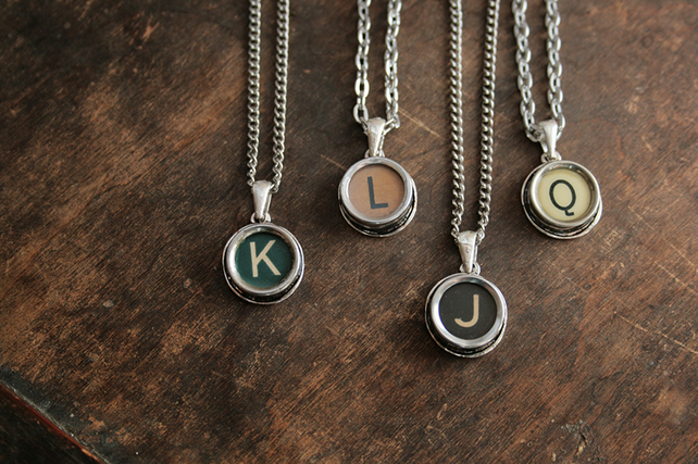 Typewriter Letter Key Necklace Custom Initial Made to Order