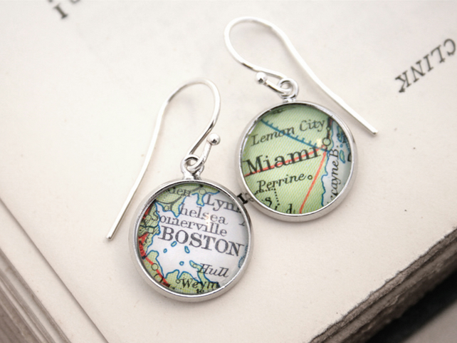 Personalized Map Earrings Custom Jewellery You Choose Location