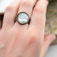 Personalized Ring Custom Map Ring Made To Order Customized Town