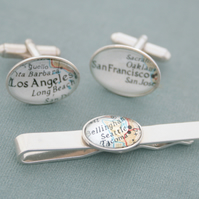 Sterling Silver Custom Map Tie Bar and Cufflinks