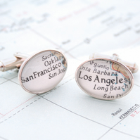 Sterling Silver Custom Cufflinks Map Personalized Cuff Links