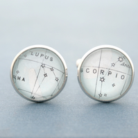 Night Sky View Cuff Links Heaven Map Custom Constellation Zodiac Cufflinks