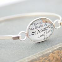 Sterling Silver Custom Map Bangle Bracelet Personalized Luxury Gift for Woman