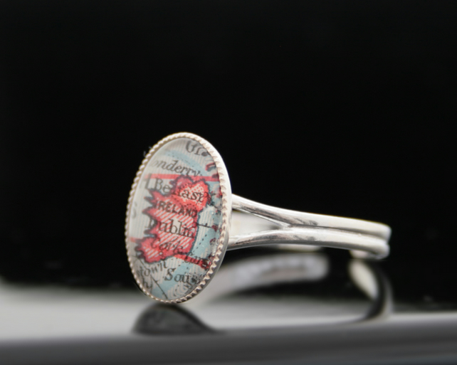 Sterling Silver Personalized Custom City Map Ring Adjustable Statement Ring
