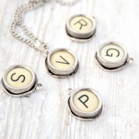 Ivory Typewriter Letter Key Necklace Custom Initial Made to Order