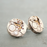 Steampunk Stud Earrings Watch Movement with Ruby Sterling Silver Post